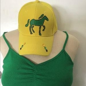 Other - Yellow Jamaican  Baseball Cap Hand Painted Horse.